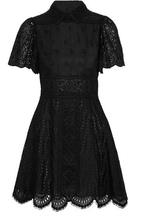 VALENTINO Scalloped broderie anglaise cotton-blend mini dress
