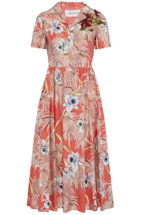 VALENTINO Appliquéd floral-print cotton-poplin midi shirt dress