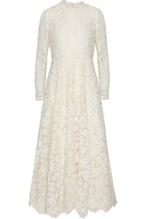 VALENTINO Layered guipure lace cotton-blend gown
