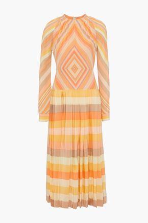 VALENTINO GARAVANI Pleated printed silk midi dress