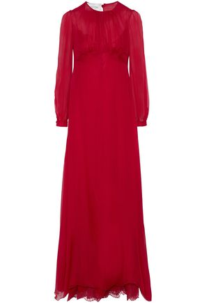 VALENTINO Gathered silk-chiffon gown