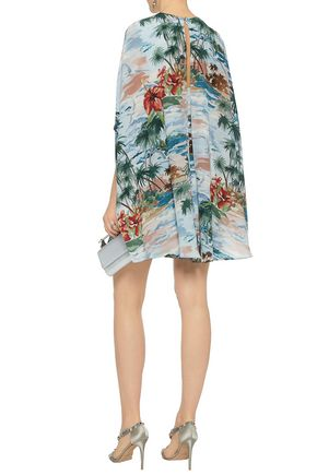 VALENTINO Cape-effect floral-print silk crepe de chine mini dress