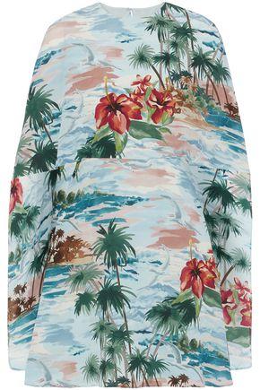 VALENTINO Cape-effect floral-print silk crepe de chine mini dress