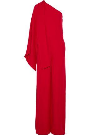 VALENTINO One-shoulder draped silk-crepe jumpsuit