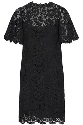 VALENTINO Layered stretch-silk corded lace dress