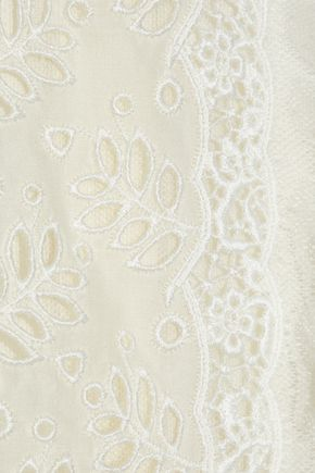 VALENTINO Lace-paneled pleated silk crepe de chine dress