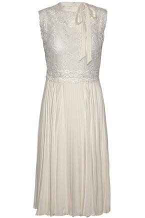 VALENTINO Lace-paneled pleated silk crepe de chine dress