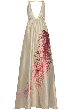 VALENTINO Silk satin-jacquard halterneck gown