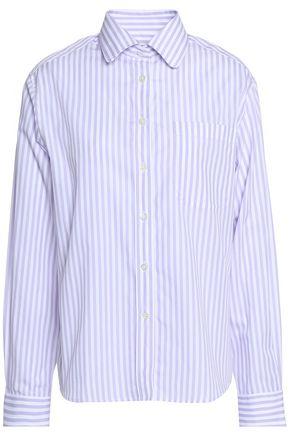 ALEXACHUNG Striped cotton-poplin shirt