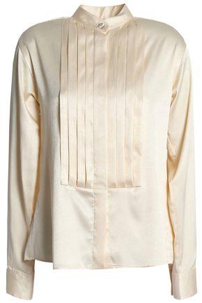 ALEXACHUNG Pintucked satin-crepe shirt