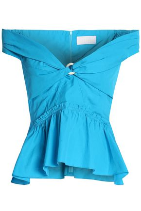 Free Shipping Cheap Quality Peter Pilotto Woman Off-the-shoulder Cotton-poplin Peplum Top Turquoise Size 8 Peter Pilotto Shopping Online Cheap Online Cheap Countdown Package Big Sale Cheap Online Cheap Sale Authentic pcOruOs