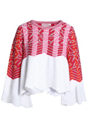 PETER PILOTTO Draped jacquard-knit sweater