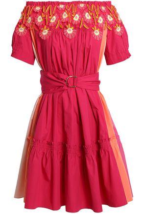 PETER PILOTTO Off-the-shoulder appliquéd color-block cotton-poplin dress