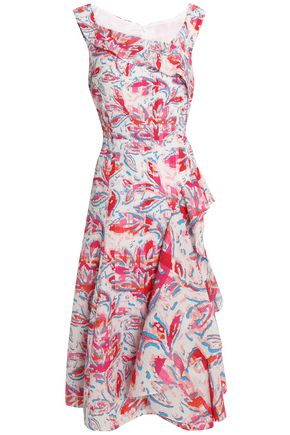 PETER PILOTTO Ruffled printed cloqué midi dress