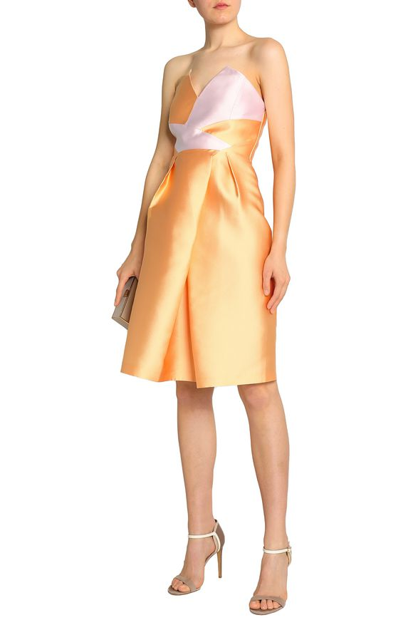Safiyaa Woman Strapless Pleated Two-tone Duchesse-satin Dress Pastel Orange Size 38 SAFiYAA HBoh97iwf