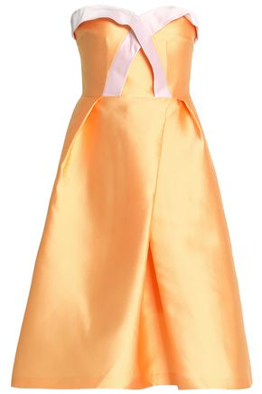 SAFIYAA Strapless pleated two-tone duchesse-satin dress