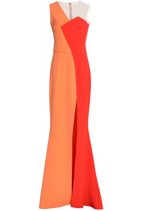 SAFIYAA One-shoulder two-tone crepe gown