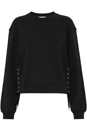 McQ Alexander McQueen Lace-up cotton-jersey sweatshirt