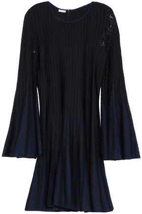 OSCAR DE LA RENTA Two-tone pointelle-knit dress
