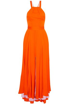 MILLY Daphne lace-up silk-blend crepe de chine gown