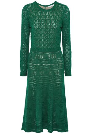 OSCAR DE LA RENTA Pointelle-knit silk midi dress