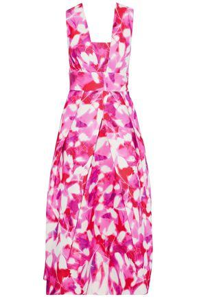 MILLY Elisa printed cotton-blend faille midi dress