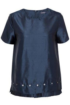 MAX MARA Hiris button-detailed pleated silk-shantung top