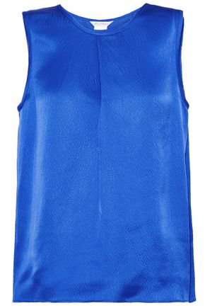 MAX MARA Pleated textured silk-satin top