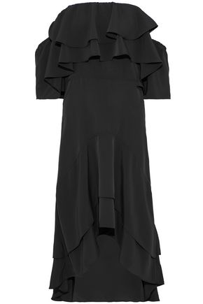 W118 by WALTER BAKER Patti off-the-shoulder ruffled crepe de chine midi dress