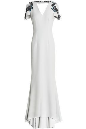 SAFIYAA Fluted embellished crepe gown