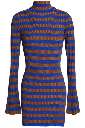BY MALENE BIRGER Metallic striped ribbed-knit turtleneck top
