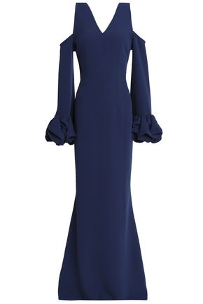 SAFIYAA Cold-shoulder fluted crepe gown