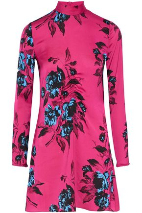 McQ Alexander McQueen Ruched floral-print satin mini dress