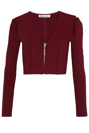 McQ Alexander McQueen Cropped cutout stretch-knit top
