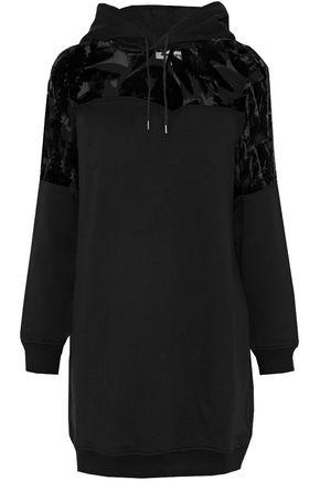 McQ Alexander McQueen Devoré velvet-paneled cotton-terry hooded mini dress