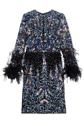 ZUHAIR MURAD Feather-trimmed embroidered silk-blend mesh mini dress