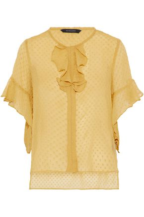 W118 by WALTER BAKER Bonnie ruffled Swiss-dot georgette top
