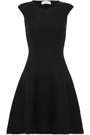 MILLY Flared ribbed-knit dress