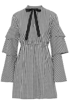 W118 by WALTER BAKER Ginger pussy-bow gingham cotton-poplin mini dress