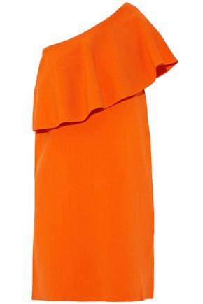 MILLY One-shoulder ruffled ponte mini dress