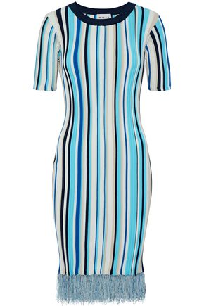 MILLY Frayed striped ribbed-knit dress