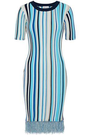 MILLY Frayed striped ribbed-knit dress