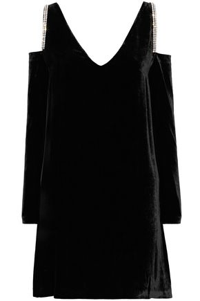 McQ Alexander McQueen Cold-shoulder crystal-embellished velvet mini dress