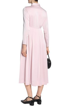 ALEXACHUNG Cutout pleated crepe midi dress