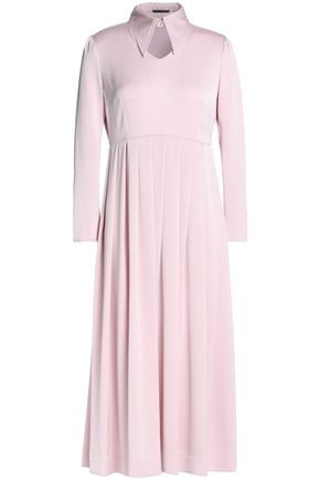 ALEXACHUNG Cutout pleated crepe midi dress