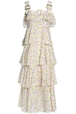 ALEXACHUNG Tiered floral-print cotton-voile midi dress