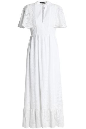 ALEXACHUNG Cape-effect broderie anglaise cotton midi dress