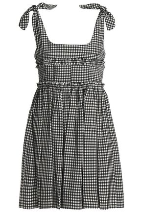 ALEXACHUNG Shirred gingham poplin mini dress