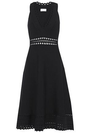 MILLY Laser-cut stretch-knit dress