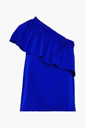 MILLY One-shoulder ruffled stretch-silk crepe de chine top